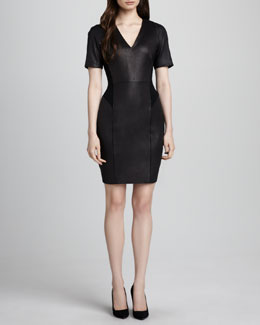 Theory Verto Leather-Front Ponte Dress