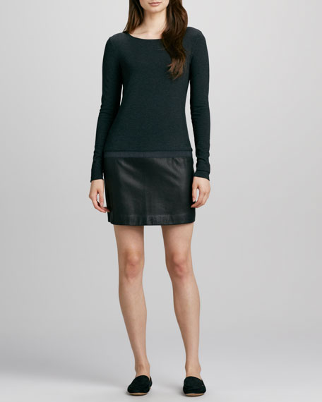 Keiran Leather-Skirt Dress
