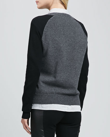 Cinda Two-Tone Cashmere Sweater