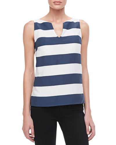 Armani Collezioni Nautical Striped Sleeveless Top