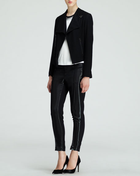 Wet-Look Stovepipe Pants