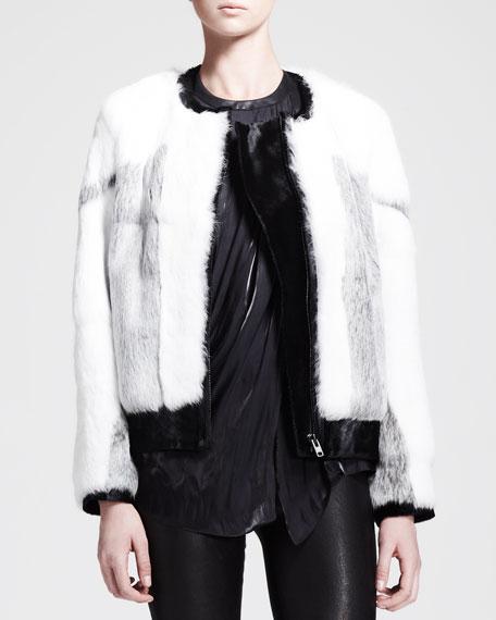 Rabbit Fur Bomber Jacket