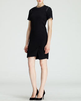 Helmut Lang Short-Sleeve Leather-Trim Suiting Dress