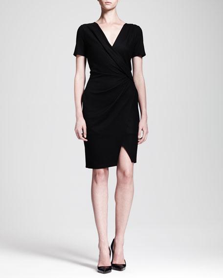 Sonar Wool Draped Crossover Dress