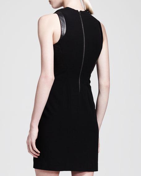 Cowl-Neck Leather-Panel Dress