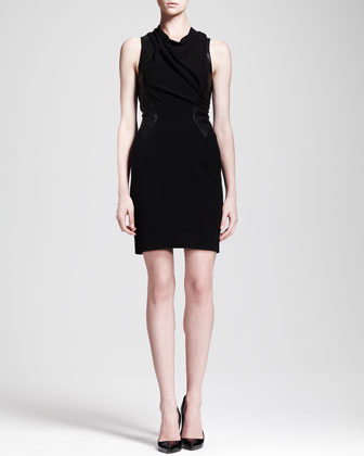 Cowl-Neck Leather-Panel Dress