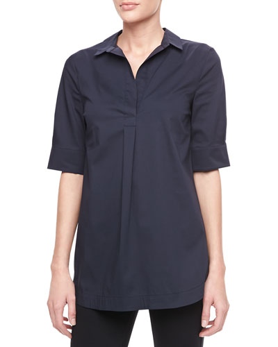Armani Collezioni Short-Sleeve Poplin Top, Navy