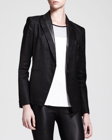 Glossy Linen Twill Blazer