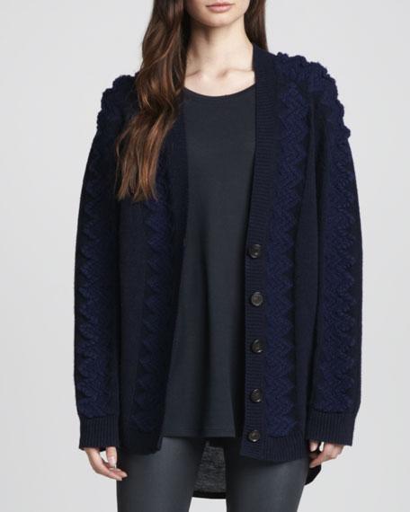 Karima Oversize Mixed-Knit Cardigan