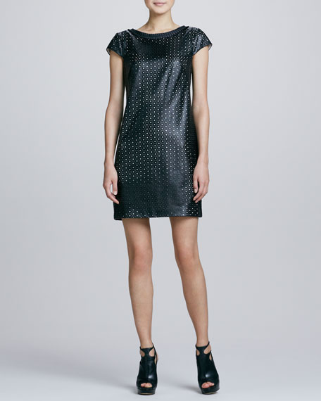 Laser-Cut Faux-Leather Shift Dress