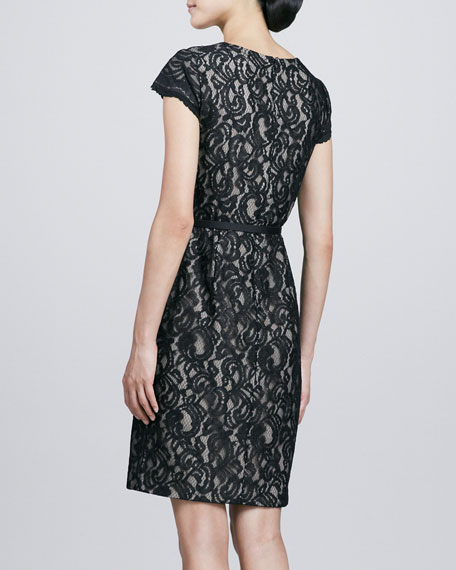 Cap-Sleeve Lace & Ponte Dress