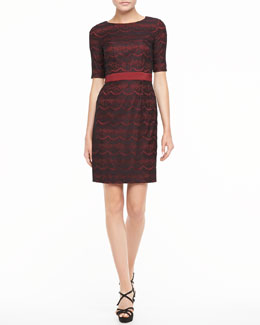 Ivy & Blu Lace Half-Sleeve Dress, Crimson/Black