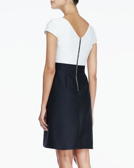 Textured V-Back Combo Dress