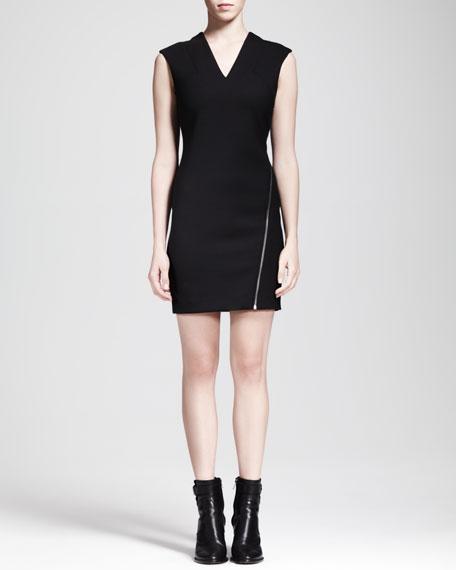 Asymmetric-Zip Moto Dress