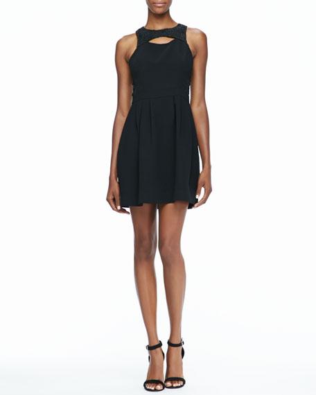 Jewel-Neck Cutout Dress