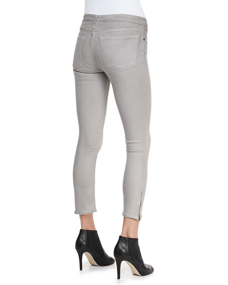 High-Gloss Cropped Zip Skinny Pants, Lace