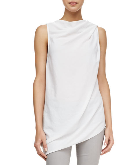 Draped Sleeveless Crepe Top