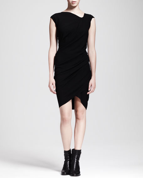 Asymmetric Ruched Crepe Dress