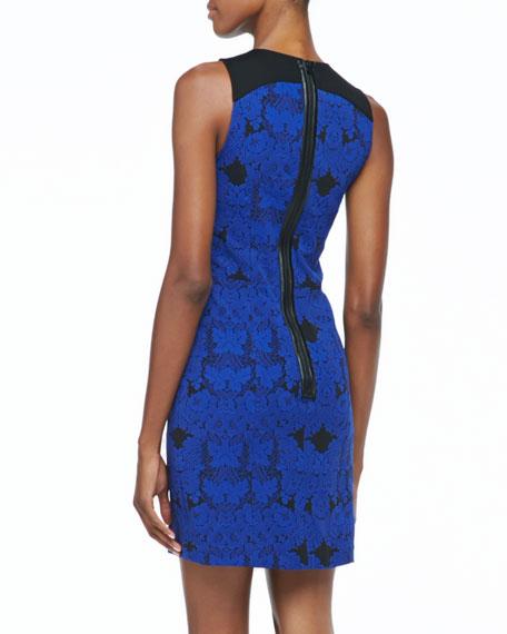 Sleeveless Jacquard Lace Dress, Blue Sapphire