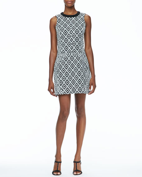 Sleeveless Diamond Print Dress
