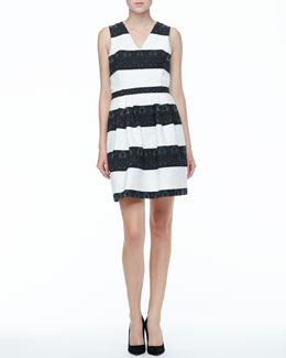 Ali Ro Sleeveless Black and White Striped Dress
