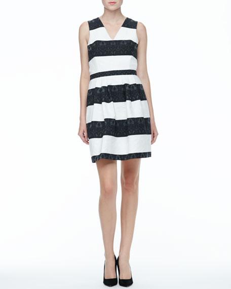 Sleeveless Black and White Striped Dress