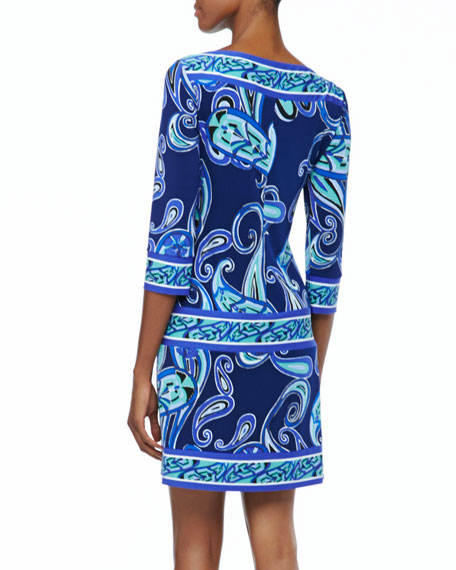 3/4-Sleeve Paisley Jersey Dress
