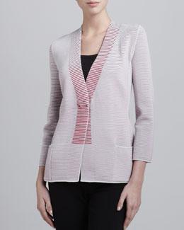 Armani Collezioni Tonal Ribbed Knit Jacket, Cayenne