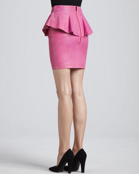 Gigi Leather Peplum Skirt, Pink