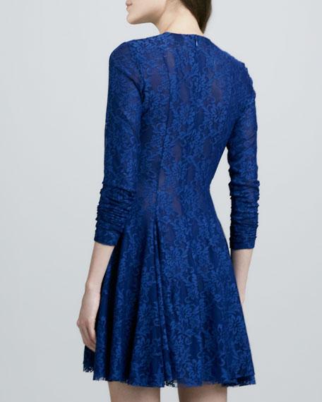 Isabel Swingy-Skirt Lace Dress