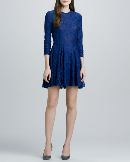 Isabel Swingy-Skirt Lace Dress