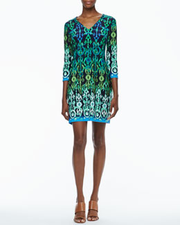 Ali Ro 3/4-Sleeve Printed Jersey Dress