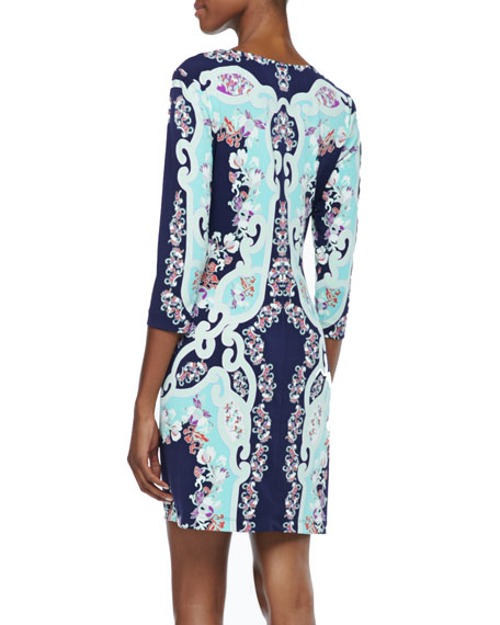 3/4-Sleeve Multicolored Print Jersey Dress