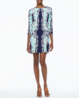 Ali Ro 3/4-Sleeve Multicolored Print Jersey Dress