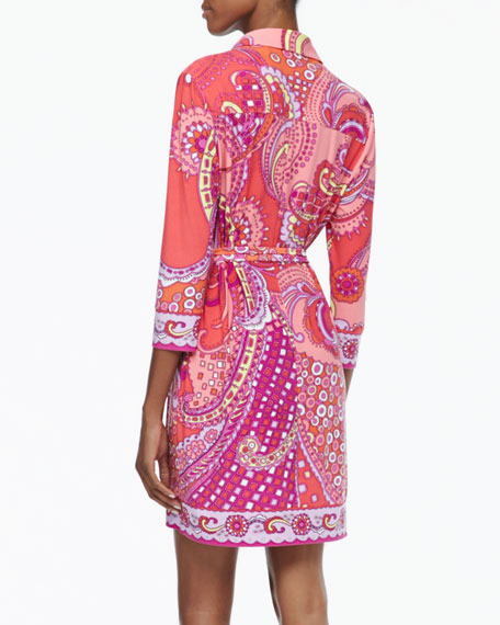 3/4-Sleeve Printed Belted Shirtdress