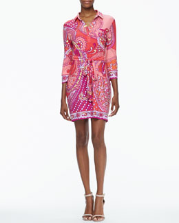 Ali Ro 3/4-Sleeve Printed Belted Shirtdress