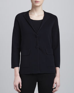 Armani Collezioni Two-Button Knit Jacket, Perse