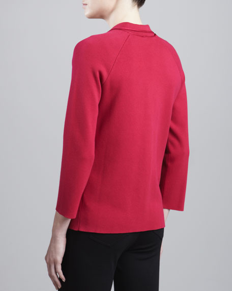Two-Button Knit Jacket, Raspberry
