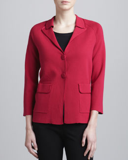 Armani Collezioni Two-Button Knit Jacket, Raspberry