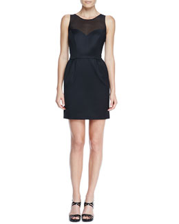 Erin by Erin Fetherston Bow-Back Mesh-Neck Cocktail Dress