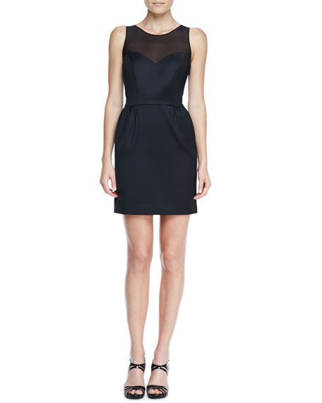 Bow-Back Mesh-Neck Cocktail Dress