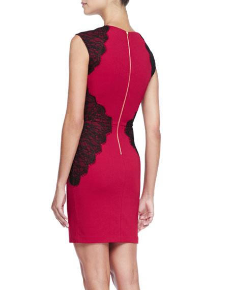 Lace-Inset Ponte Cocktail Dress
