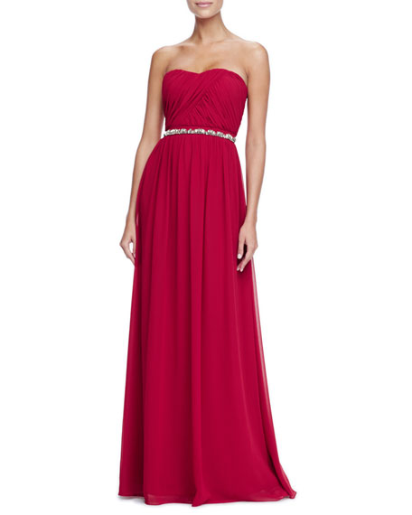 Strapless Bead-Waist Chiffon Gown