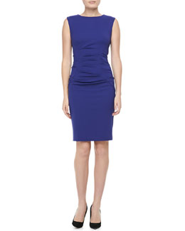 Nicole Miller Sleeveless Boat Neck Ruched Dress