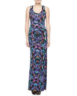 Nicole Miller Printed Scoop-Neck Maxi Dress