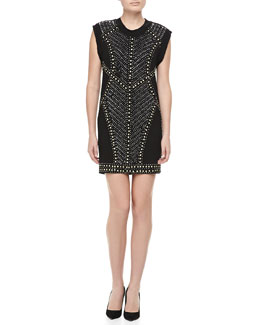 Nicole Miller Cap-Sleeve Nail Head Shift Dress