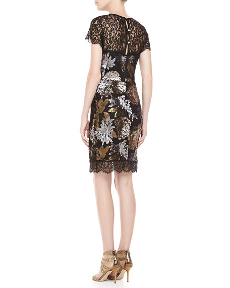 Floral-Sequined Lace Cocktail Dress