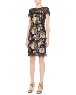 Nicole Miller Floral-Sequined Lace Cocktail Dress