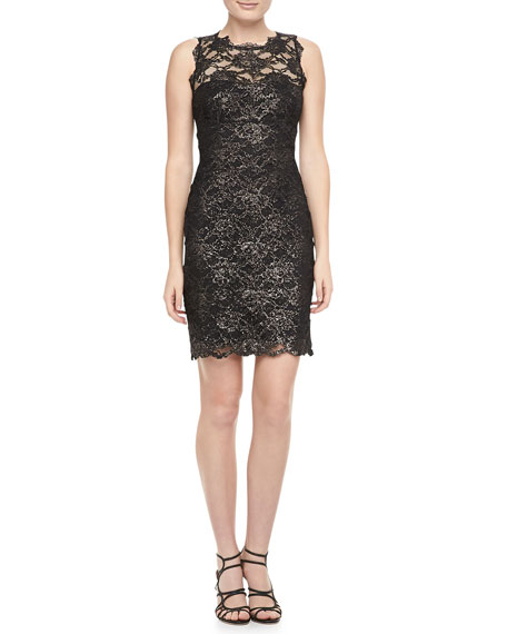 Foil-Lace Cocktail Dress