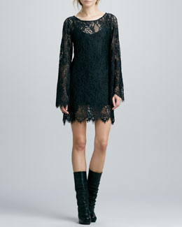 Alexis Katarina Bell-Sleeve Lace Dress